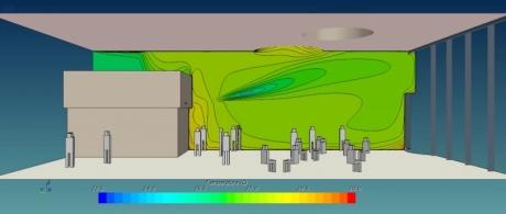 Temperatursimulation Eingangshalle