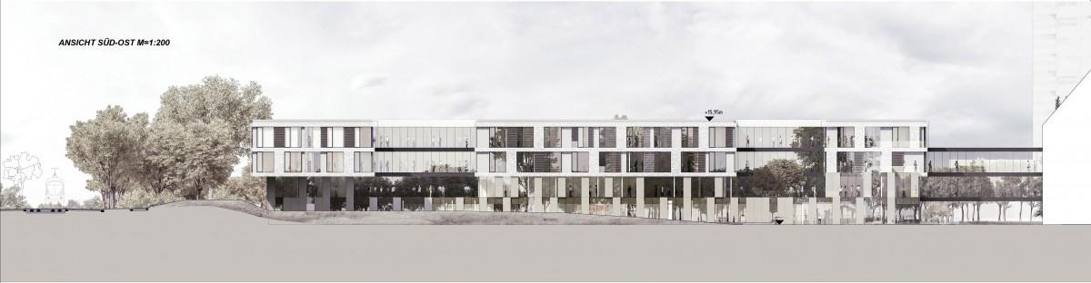 Ansicht der Gartenfassade (Süd-Ost-Fassade) mit Anschluss an die Frauenklinik