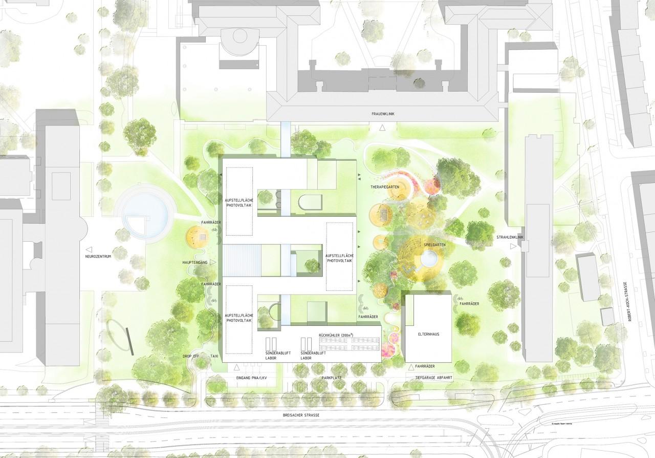 Lageplan der neuen Kinder- und Jugendklinik Freiburg